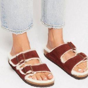 New Birkenstock Arizona Port Red Fur Sandals